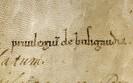 Première analyse dorsale, faite au XIIIe s. (verso d'une fausse bulle de 1139)